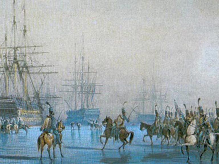 La capture de la flotte hollandaise… par des chevaux!